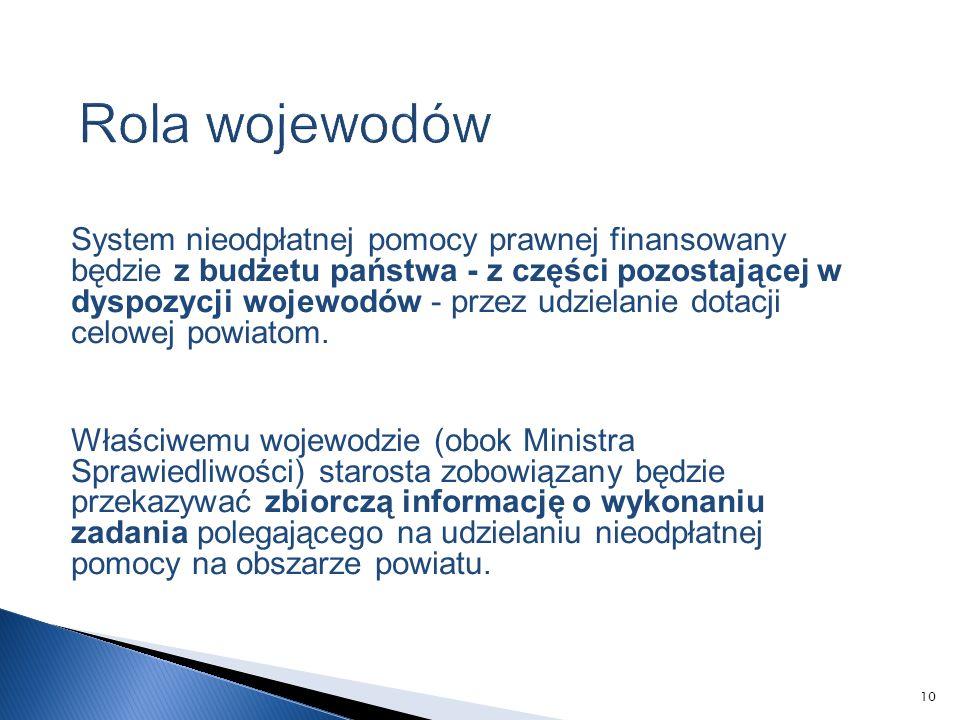System nieodpłatnej pomocy prawnej finansowany będzie z budżetu państwa - z części pozostającej w dyspozycji wojewodów - przez udzielanie dotacji celowej powiatom.