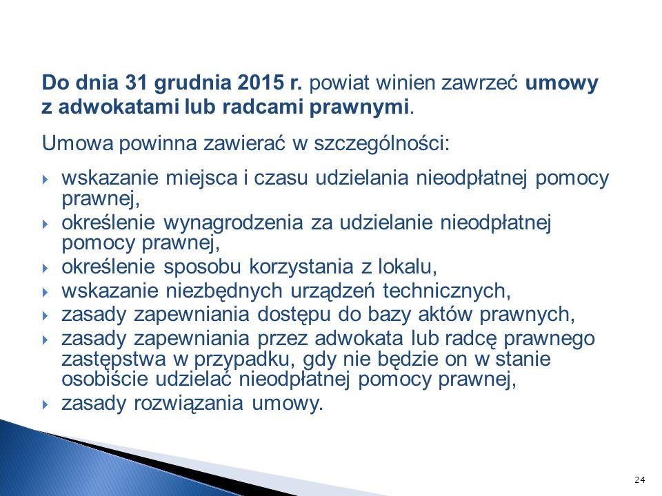 Do dnia 31 grudnia 2015 r. powiat winien zawrzeć umowy z adwokatami lub radcami prawnymi.