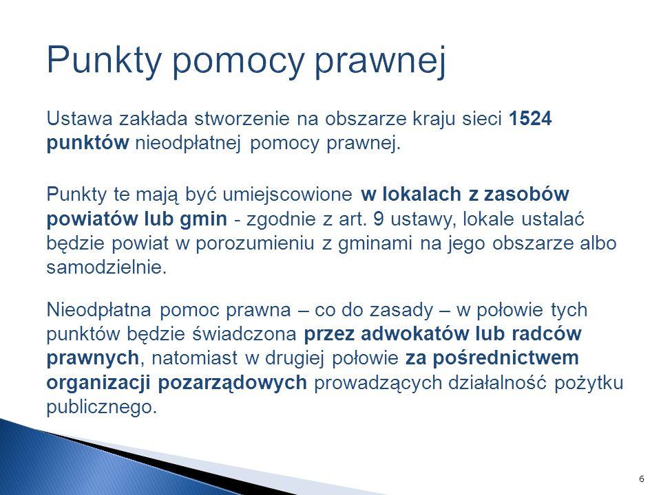 Ustawa zakłada stworzenie na obszarze kraju sieci 1524 punktów nieodpłatnej pomocy prawnej.