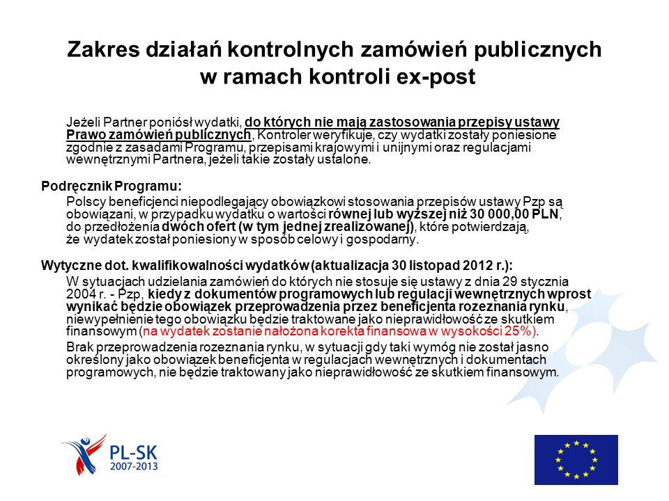 Zakres działań kontrolnych zamówień publicznych w ramach kontroli ex-post Jeżeli Partner poniósł wydatki, do których nie mają zastosowania przepisy ustawy Prawo zamówień publicznych, Kontroler weryfikuje, czy wydatki zostały poniesione zgodnie z zasadami Programu, przepisami krajowymi i unijnymi oraz regulacjami wewnętrznymi Partnera, jeżeli takie zostały ustalone.