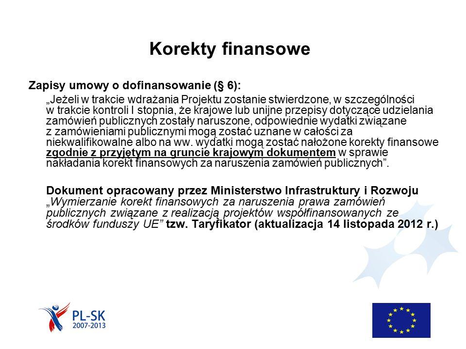 """Korekty finansowe Zapisy umowy o dofinansowanie (§ 6): """"Jeżeli w trakcie wdrażania Projektu zostanie stwierdzone, w szczególności w trakcie kontroli I stopnia, że krajowe lub unijne przepisy dotyczące udzielania zamówień publicznych zostały naruszone, odpowiednie wydatki związane z zamówieniami publicznymi mogą zostać uznane w całości za niekwalifikowalne albo na ww."""