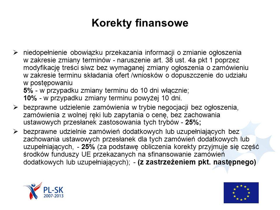 Korekty finansowe  niedopełnienie obowiązku przekazania informacji o zmianie ogłoszenia w zakresie zmiany terminów - naruszenie art. 38 ust. 4a pkt 1