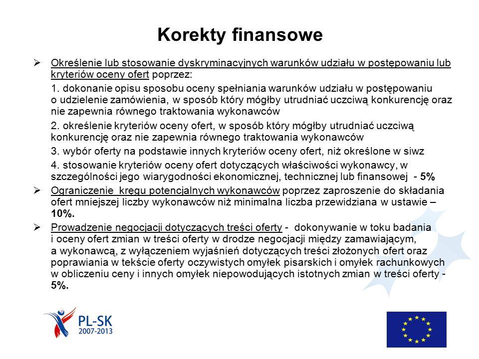 Korekty finansowe  Określenie lub stosowanie dyskryminacyjnych warunków udziału w postępowaniu lub kryteriów oceny ofert poprzez: 1. dokonanie opisu