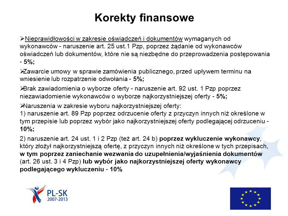 Korekty finansowe  Nieprawidłowości w zakresie oświadczeń i dokumentów wymaganych od wykonawców - naruszenie art. 25 ust.1 Pzp, poprzez żądanie od wy