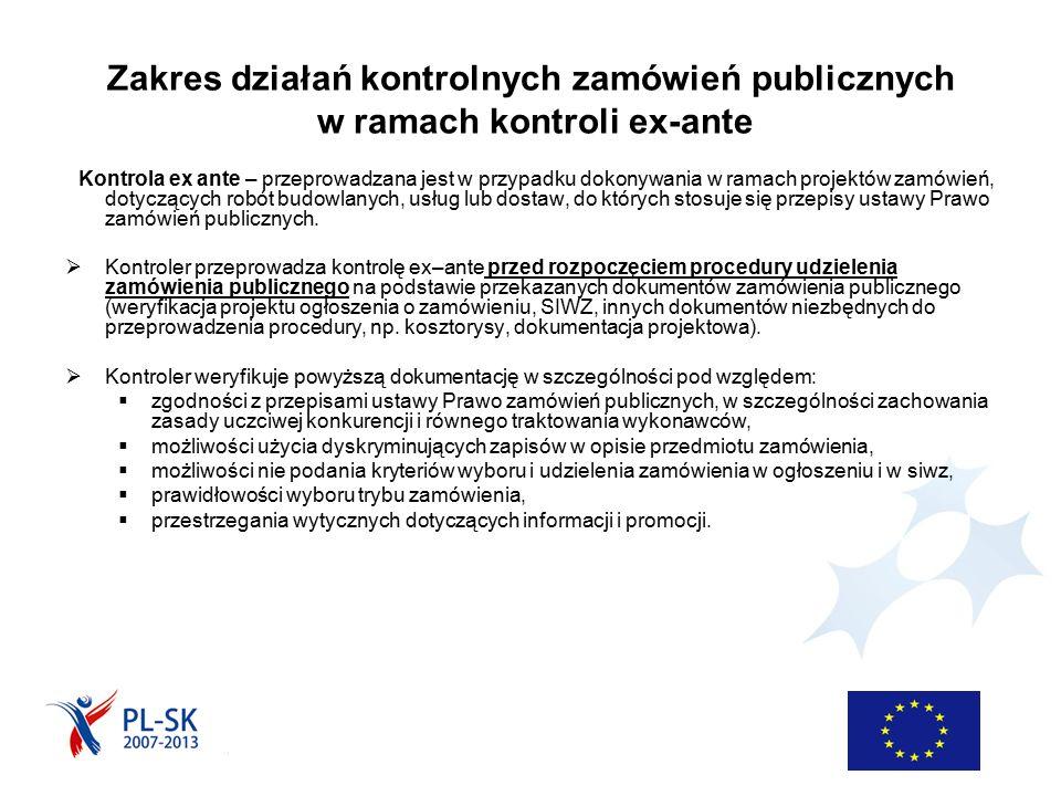 Zakres działań kontrolnych zamówień publicznych w ramach kontroli ex-ante Kontrola ex ante – przeprowadzana jest w przypadku dokonywania w ramach proj
