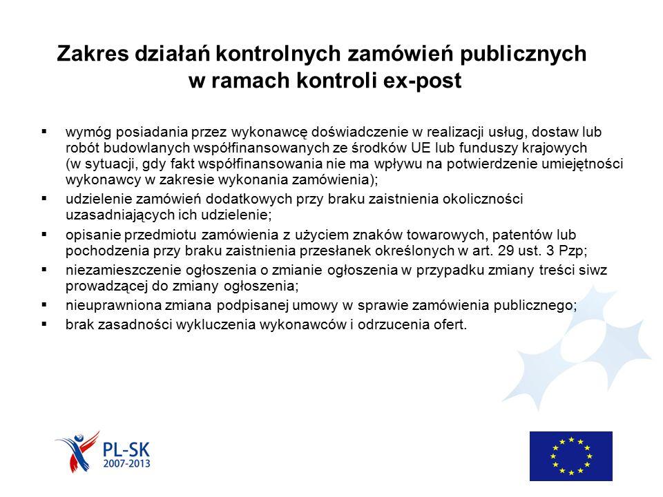 Zakres działań kontrolnych zamówień publicznych w ramach kontroli ex-post  wymóg posiadania przez wykonawcę doświadczenie w realizacji usług, dostaw lub robót budowlanych współfinansowanych ze środków UE lub funduszy krajowych (w sytuacji, gdy fakt współfinansowania nie ma wpływu na potwierdzenie umiejętności wykonawcy w zakresie wykonania zamówienia);  udzielenie zamówień dodatkowych przy braku zaistnienia okoliczności uzasadniających ich udzielenie;  opisanie przedmiotu zamówienia z użyciem znaków towarowych, patentów lub pochodzenia przy braku zaistnienia przesłanek określonych w art.