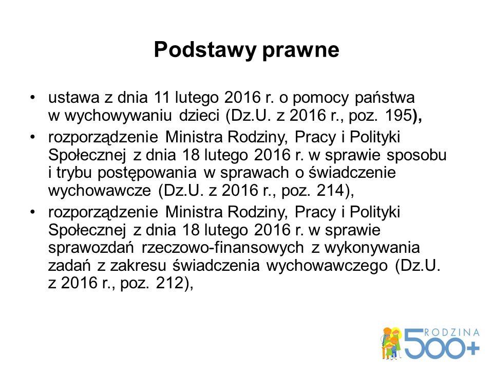 Podstawy prawne ustawa z dnia 11 lutego 2016 r.o pomocy państwa w wychowywaniu dzieci (Dz.U.
