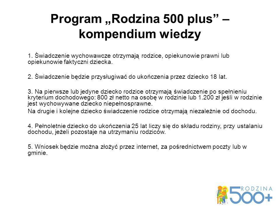 "Program ""Rodzina 500 plus – kompendium wiedzy 1."