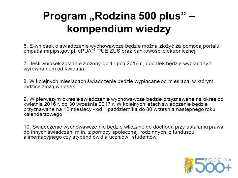 "Program ""Rodzina 500 plus – kompendium wiedzy 6."