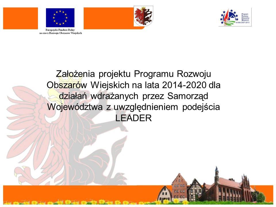 Założenia projektu Programu Rozwoju Obszarów Wiejskich na lata 2014-2020 dla działań wdrażanych przez Samorząd Województwa z uwzględnieniem podejścia LEADER