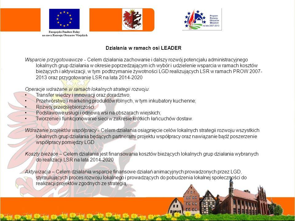 Działania w ramach osi LEADER Wsparcie przygotowawcze - Celem działania zachowanie i dalszy rozwój potencjału administracyjnego lokalnych grup działania w okresie poprzedzającym ich wybór i udzielenie wsparcia w ramach kosztów bieżących i aktywizacji, w tym podtrzymanie żywotności LGD realizujących LSR w ramach PROW 2007- 2013 oraz przygotowanie LSR na lata 2014-2020 Operacje wdrażane w ramach lokalnych strategii rozwoju: Transfer wiedzy i innowacji oraz doradztwo; Przetwórstwo i marketing produktów rolnych, w tym inkubatory kuchenne; Rozwój przedsiębiorczości; Podstawowe usługi i odnowa wsi na obszarach wiejskich; Tworzenie i funkcjonowanie sieci w zakresie krótkich łańcuchów dostaw.
