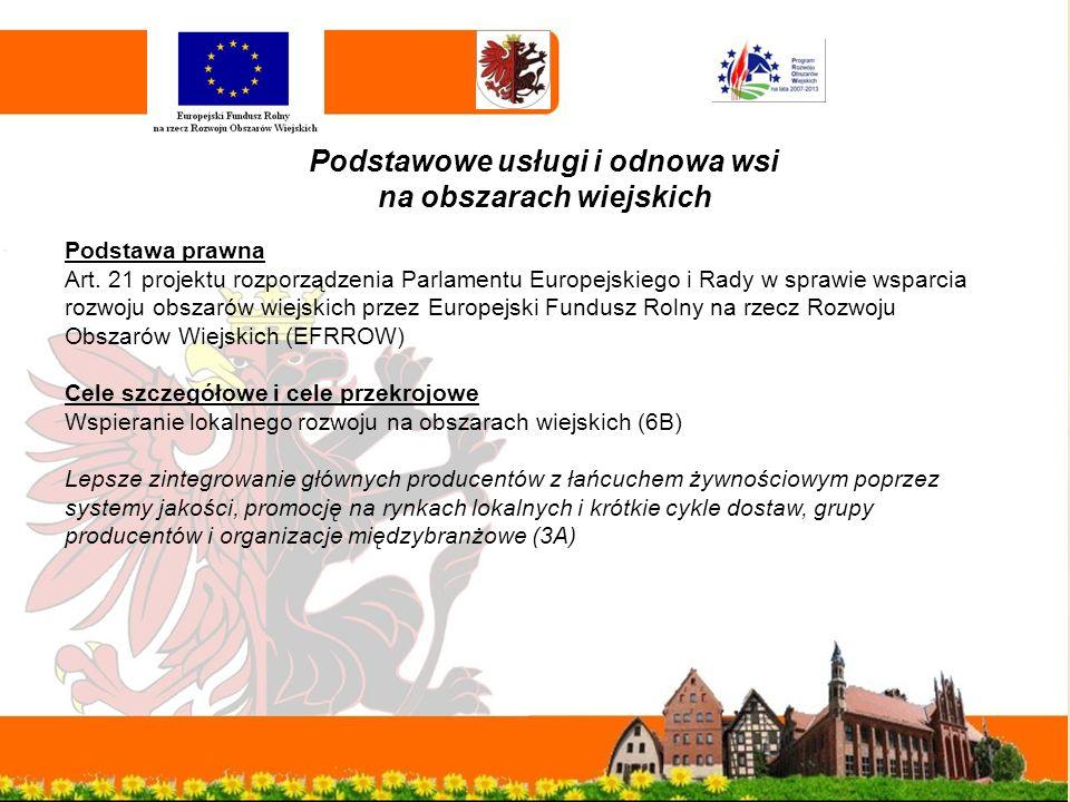 Podstawowe usługi i odnowa wsi na obszarach wiejskich Podstawa prawna Art.