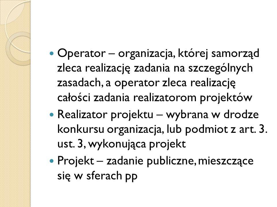 Operator – organizacja, której samorząd zleca realizację zadania na szczególnych zasadach, a operator zleca realizację całości zadania realizatorom projektów Realizator projektu – wybrana w drodze konkursu organizacja, lub podmiot z art.
