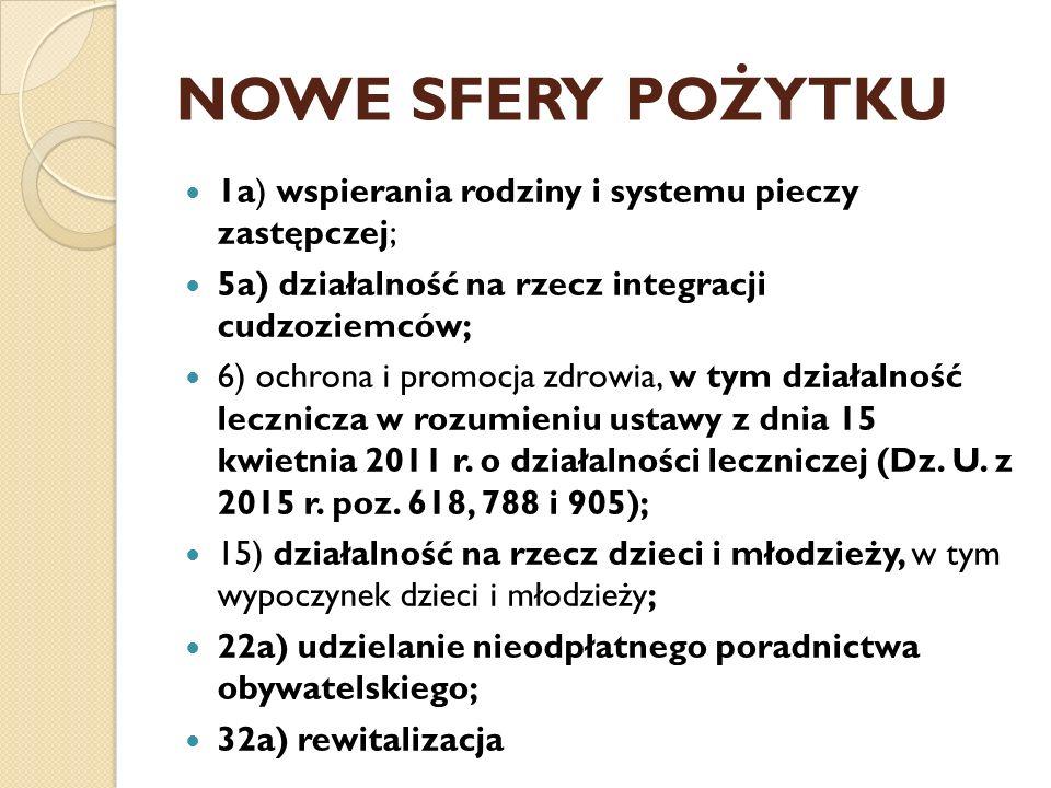 NOWE SFERY POŻYTKU 1a) wspierania rodziny i systemu pieczy zastępczej; 5a) działalność na rzecz integracji cudzoziemców; 6) ochrona i promocja zdrowia, w tym działalność lecznicza w rozumieniu ustawy z dnia 15 kwietnia 2011 r.