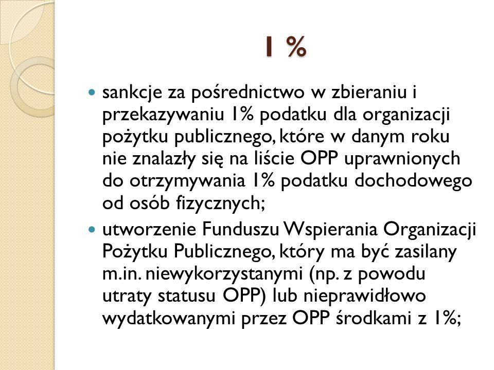 1 % 1 % sankcje za pośrednictwo w zbieraniu i przekazywaniu 1% podatku dla organizacji pożytku publicznego, które w danym roku nie znalazły się na liście OPP uprawnionych do otrzymywania 1% podatku dochodowego od osób fizycznych; utworzenie Funduszu Wspierania Organizacji Pożytku Publicznego, który ma być zasilany m.in.