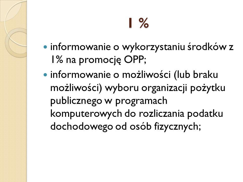 1 % informowanie o wykorzystaniu środków z 1% na promocję OPP; informowanie o możliwości (lub braku możliwości) wyboru organizacji pożytku publicznego w programach komputerowych do rozliczania podatku dochodowego od osób fizycznych;