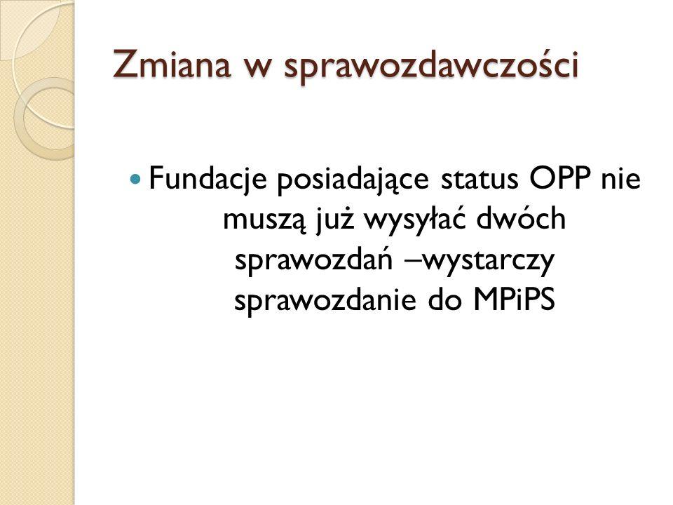 Zmiana w sprawozdawczości Fundacje posiadające status OPP nie muszą już wysyłać dwóch sprawozdań –wystarczy sprawozdanie do MPiPS