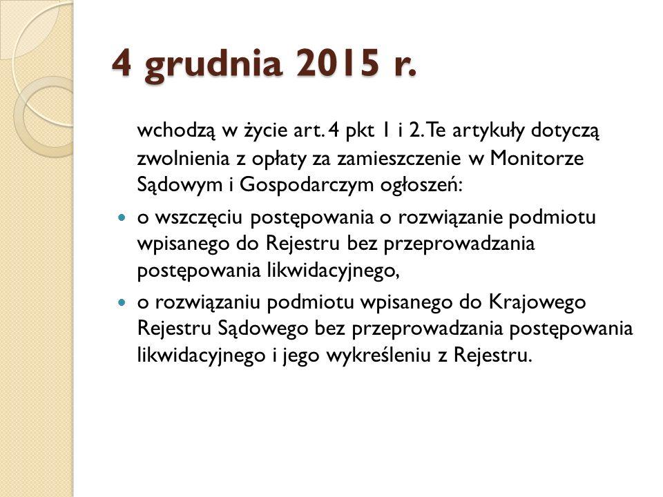 4 grudnia 2015 r. wchodzą w życie art. 4 pkt 1 i 2.