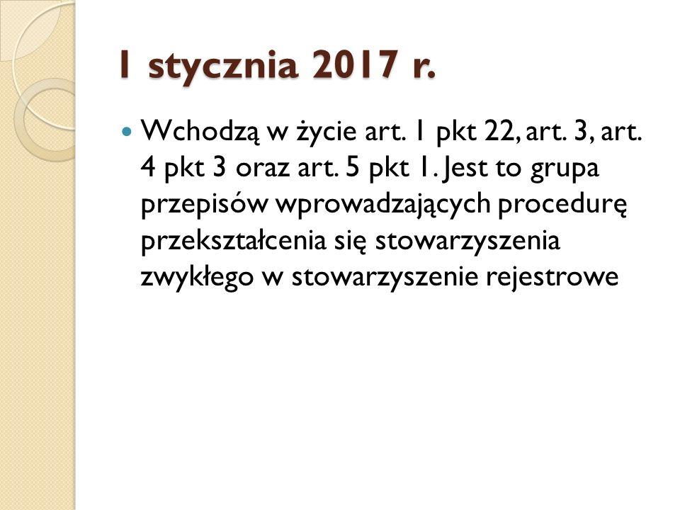 1 stycznia 2017 r. Wchodzą w życie art. 1 pkt 22, art.