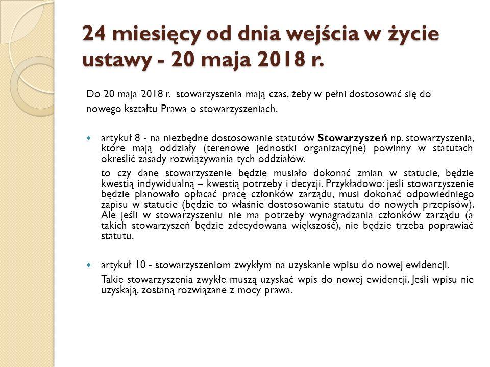 24 miesięcy od dnia wejścia w życie ustawy - 20 maja 2018 r.