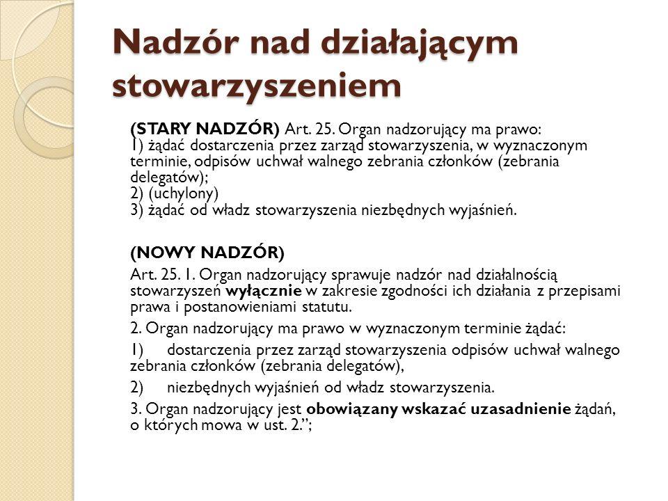 Nadzór nad działającym stowarzyszeniem (STARY NADZÓR) Art.