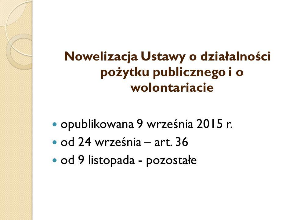 Nowelizacja Ustawy o działalności pożytku publicznego i o wolontariacie opublikowana 9 września 2015 r.