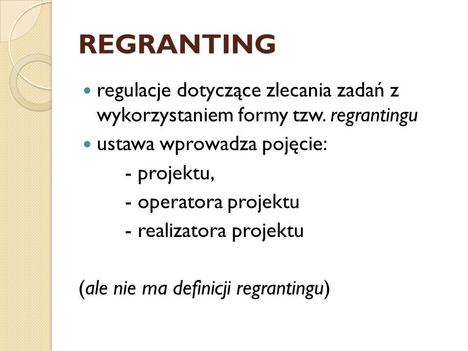 REGRANTING regulacje dotyczące zlecania zadań z wykorzystaniem formy tzw.