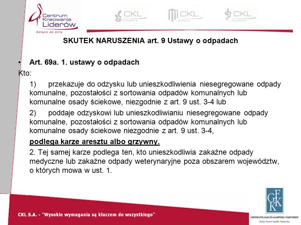 SKUTEK NARUSZENIA art. 9 Ustawy o odpadach Art. 69a.
