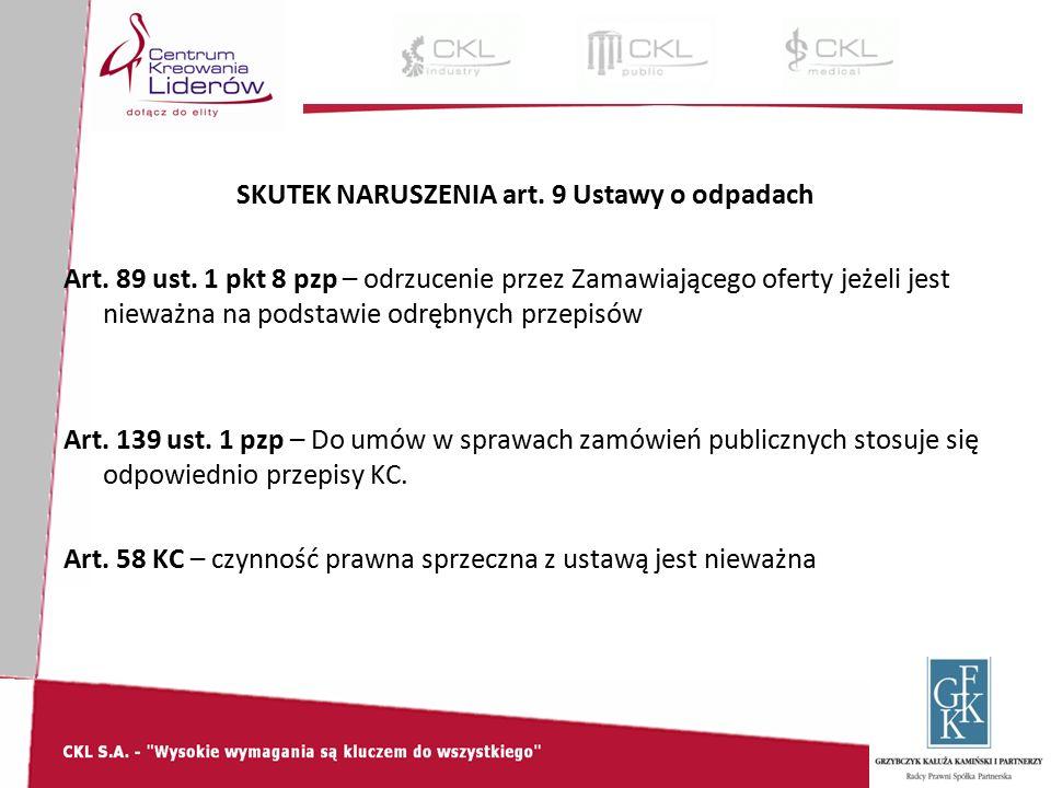SKUTEK NARUSZENIA art. 9 Ustawy o odpadach Art. 89 ust.