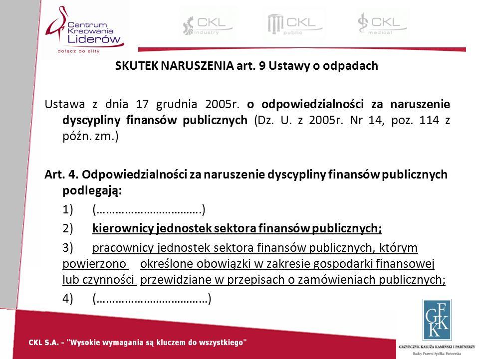 SKUTEK NARUSZENIA art. 9 Ustawy o odpadach Ustawa z dnia 17 grudnia 2005r.