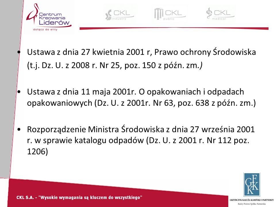 Ustawa z dnia 27 kwietnia 2001 r, Prawo ochrony Środowiska (t.j.