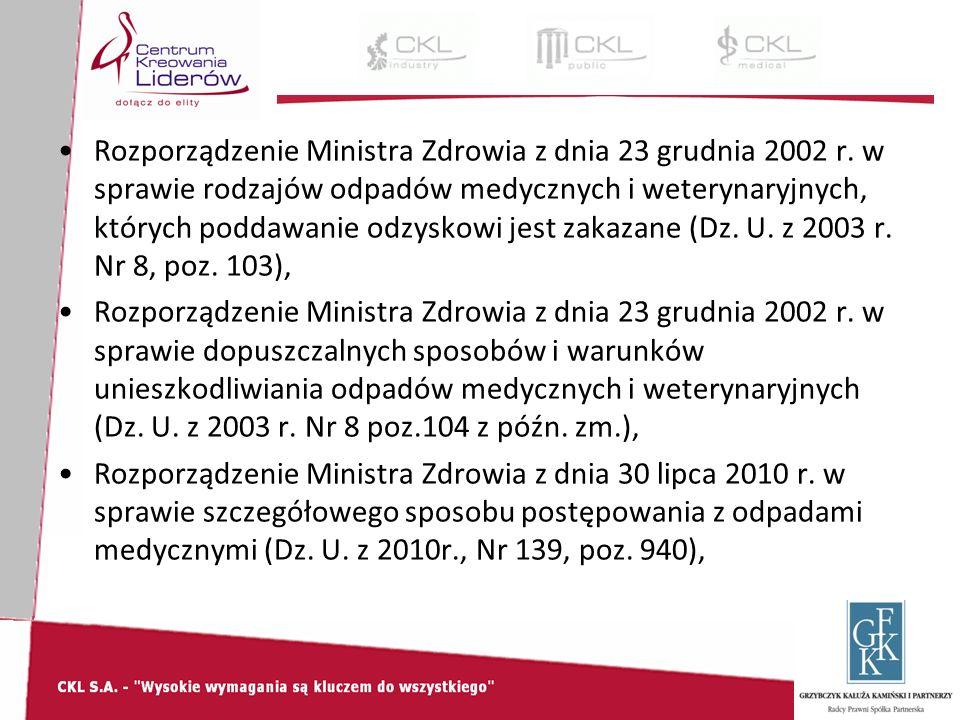 Rozporządzenie Ministra Zdrowia z dnia 23 grudnia 2002 r.