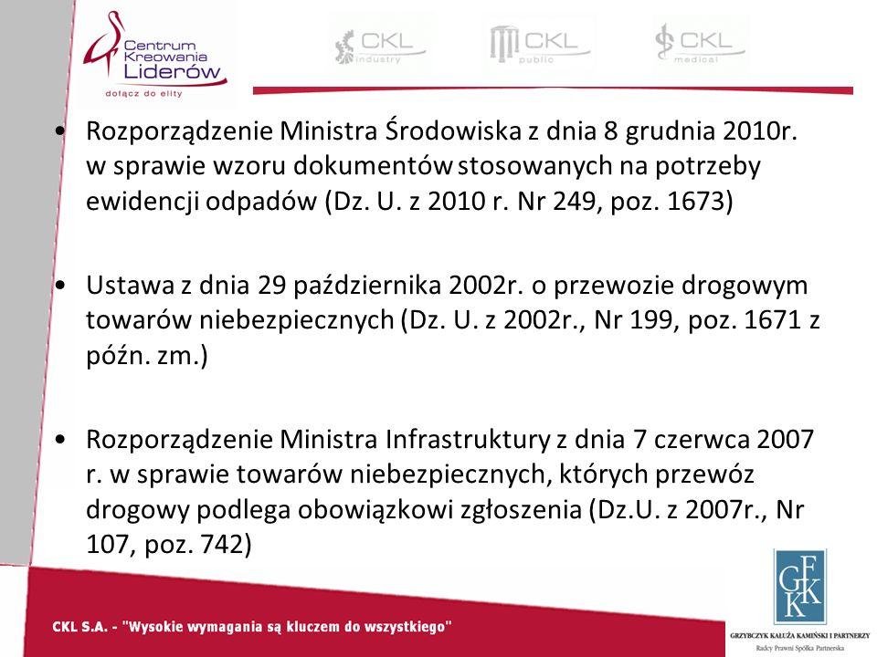 Rozporządzenie Ministra Środowiska z dnia 8 grudnia 2010r.