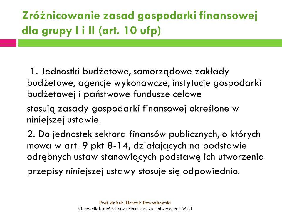 Zróżnicowanie zasad gospodarki finansowej dla grupy I i II (art.
