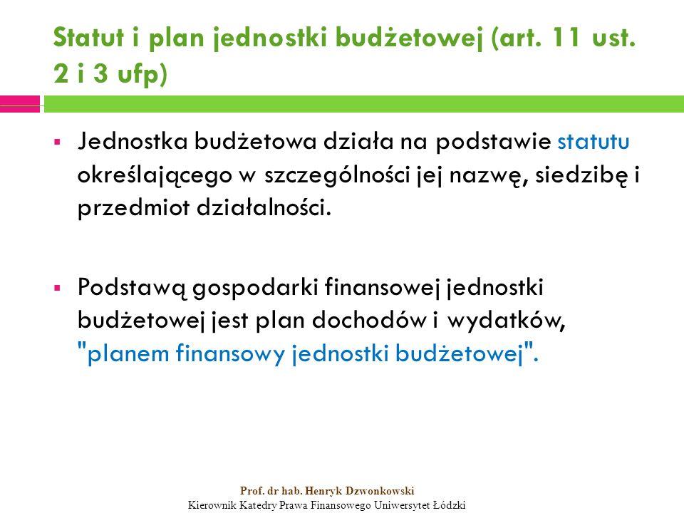 Statut i plan jednostki budżetowej (art. 11 ust. 2 i 3 ufp)  Jednostka budżetowa działa na podstawie statutu określającego w szczególności jej nazwę,