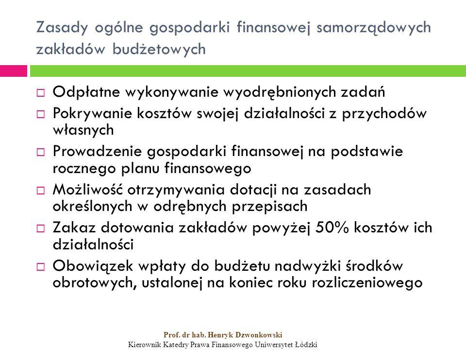Zasady ogólne gospodarki finansowej samorządowych zakładów budżetowych  Odpłatne wykonywanie wyodrębnionych zadań  Pokrywanie kosztów swojej działalności z przychodów własnych  Prowadzenie gospodarki finansowej na podstawie rocznego planu finansowego  Możliwość otrzymywania dotacji na zasadach określonych w odrębnych przepisach  Zakaz dotowania zakładów powyżej 50% kosztów ich działalności  Obowiązek wpłaty do budżetu nadwyżki środków obrotowych, ustalonej na koniec roku rozliczeniowego Prof.