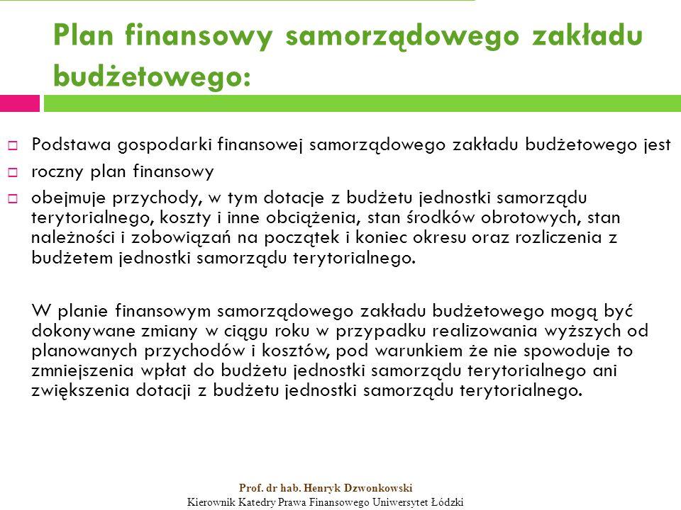Plan finansowy samorządowego zakładu budżetowego:  Podstawa gospodarki finansowej samorządowego zakładu budżetowego jest  roczny plan finansowy  obejmuje przychody, w tym dotacje z budżetu jednostki samorządu terytorialnego, koszty i inne obciążenia, stan środków obrotowych, stan należności i zobowiązań na początek i koniec okresu oraz rozliczenia z budżetem jednostki samorządu terytorialnego.