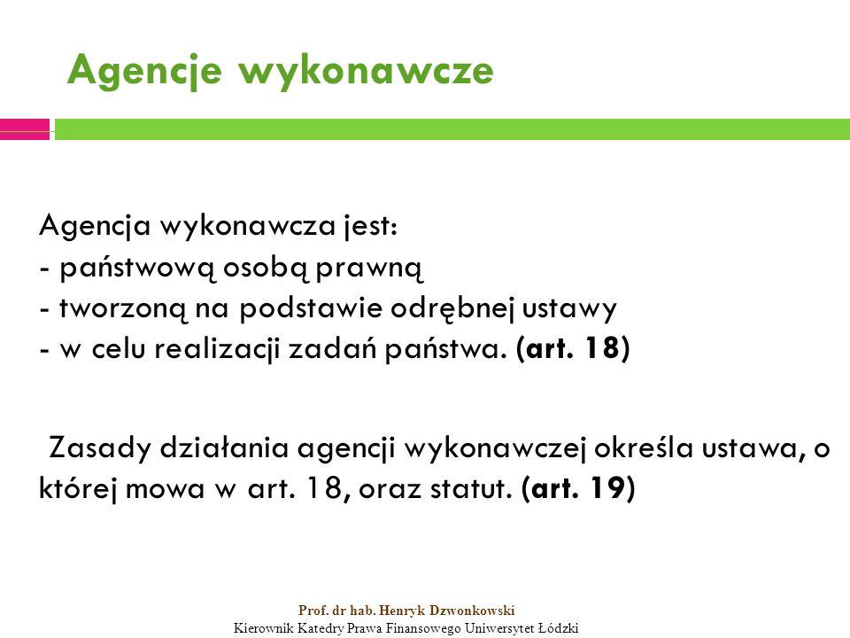 Agencje wykonawcze Agencja wykonawcza jest: - państwową osobą prawną - tworzoną na podstawie odrębnej ustawy - w celu realizacji zadań państwa.