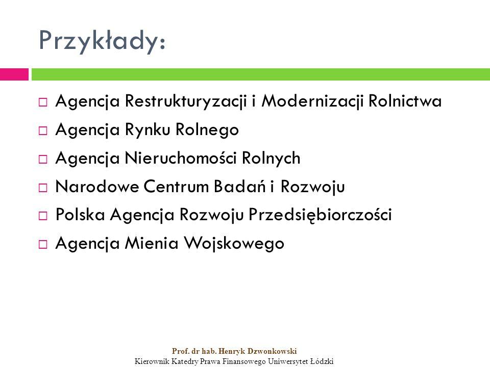 Przykłady:  Agencja Restrukturyzacji i Modernizacji Rolnictwa  Agencja Rynku Rolnego  Agencja Nieruchomości Rolnych  Narodowe Centrum Badań i Rozwoju  Polska Agencja Rozwoju Przedsiębiorczości  Agencja Mienia Wojskowego Prof.