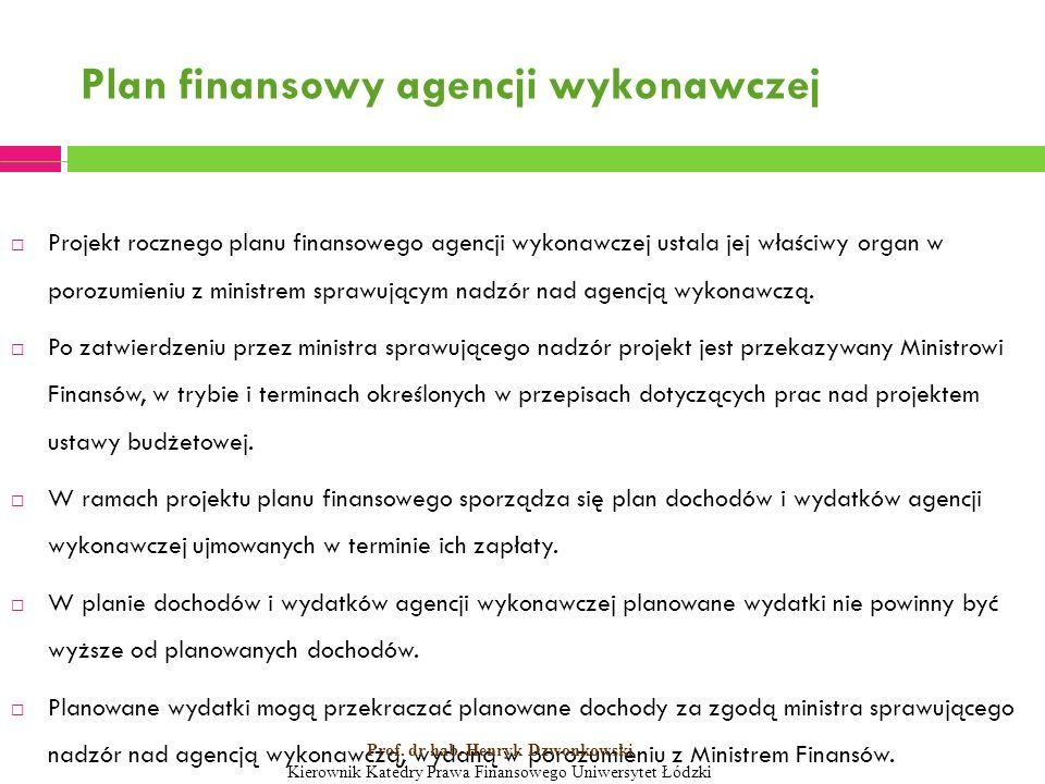 Plan finansowy agencji wykonawczej  Projekt rocznego planu finansowego agencji wykonawczej ustala jej właściwy organ w porozumieniu z ministrem sprawującym nadzór nad agencją wykonawczą.