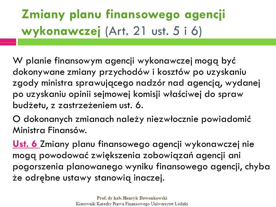 Zmiany planu finansowego agencji wykonawczej (Art.