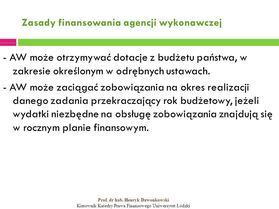 Zasady finansowania agencji wykonawczej - AW może otrzymywać dotacje z budżetu państwa, w zakresie określonym w odrębnych ustawach.