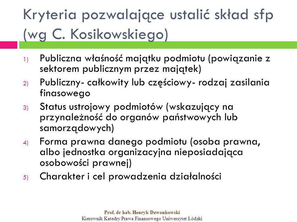 Kryteria pozwalające ustalić skład sfp (wg C.