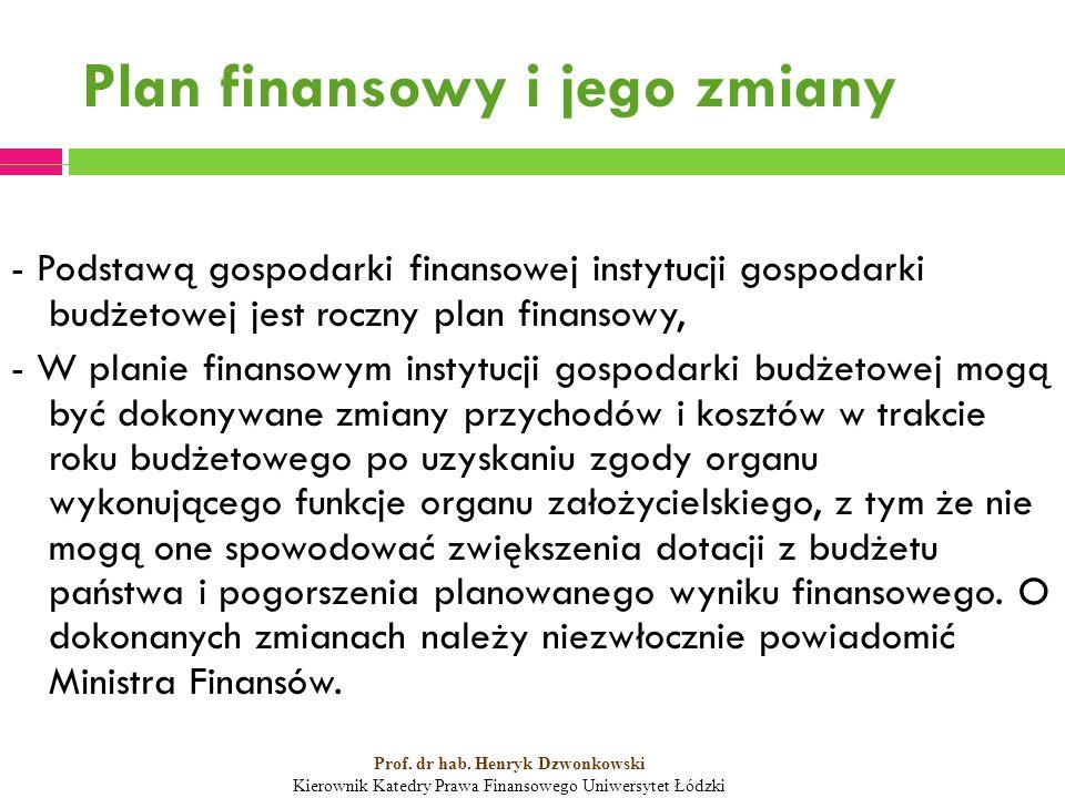 Plan finansowy i jego zmiany - Podstawą gospodarki finansowej instytucji gospodarki budżetowej jest roczny plan finansowy, - W planie finansowym instytucji gospodarki budżetowej mogą być dokonywane zmiany przychodów i kosztów w trakcie roku budżetowego po uzyskaniu zgody organu wykonującego funkcje organu założycielskiego, z tym że nie mogą one spowodować zwiększenia dotacji z budżetu państwa i pogorszenia planowanego wyniku finansowego.
