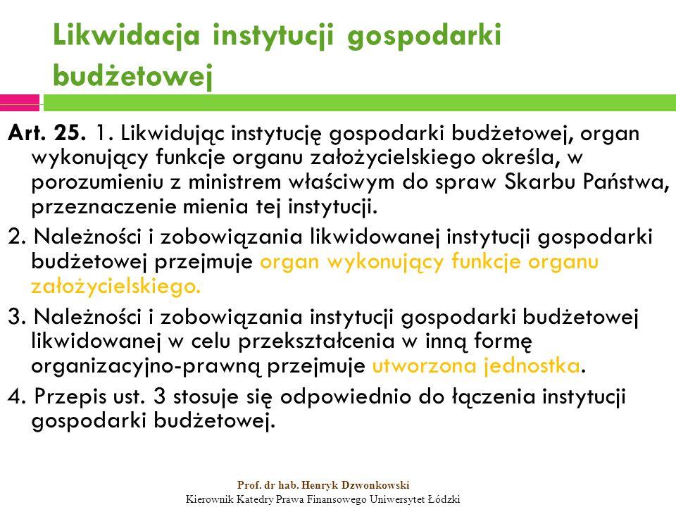Likwidacja instytucji gospodarki budżetowej Art. 25.