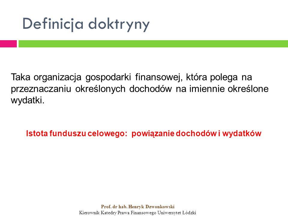Definicja doktryny Taka organizacja gospodarki finansowej, która polega na przeznaczaniu określonych dochodów na imiennie określone wydatki.