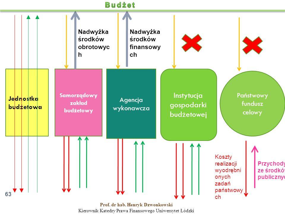Jednostka budżetowa Samorządowy zakład budżetowy Agencja wykonawcza Instytucja gospodarki budżetowej Państwowy fundusz celowy Nadwyżka środków finansowy ch Nadwyżka środków obrotowyc h Przychody ze środków publicznych Koszty realizacji wyodrębni onych zadań państwowy ch 63 Prof.