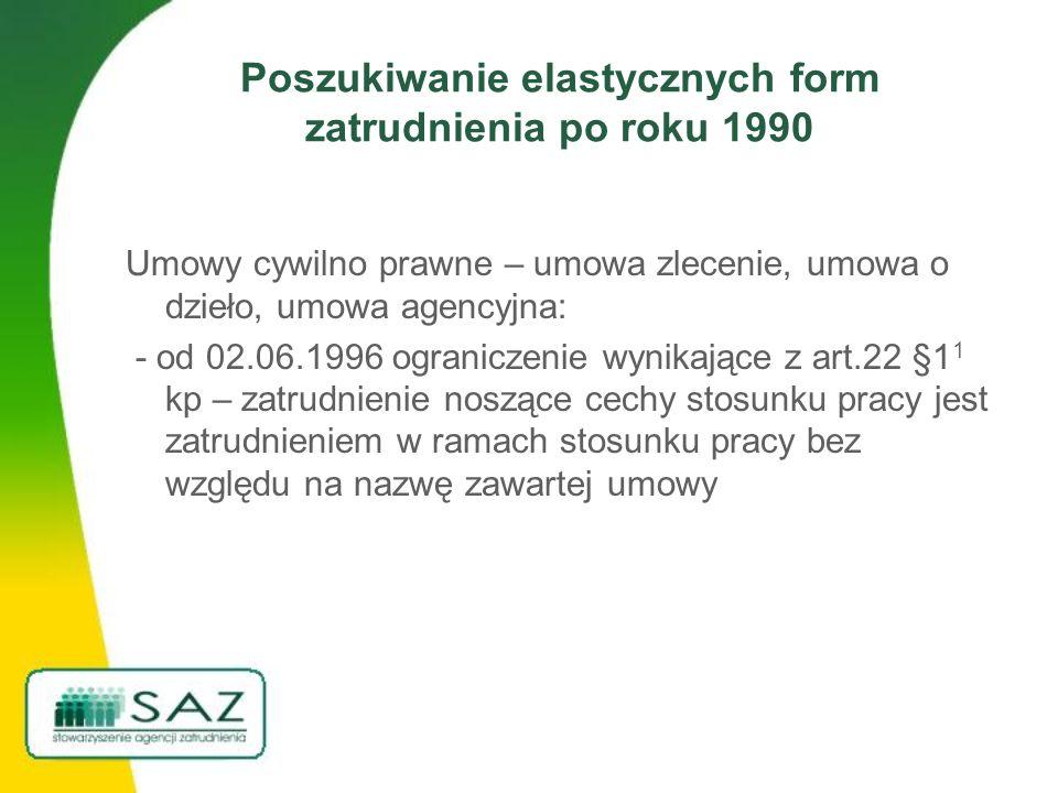 Poszukiwanie elastycznych form zatrudnienia po roku 1990 Umowy cywilno prawne – umowa zlecenie, umowa o dzieło, umowa agencyjna: - od 02.06.1996 ograniczenie wynikające z art.22 §1 1 kp – zatrudnienie noszące cechy stosunku pracy jest zatrudnieniem w ramach stosunku pracy bez względu na nazwę zawartej umowy