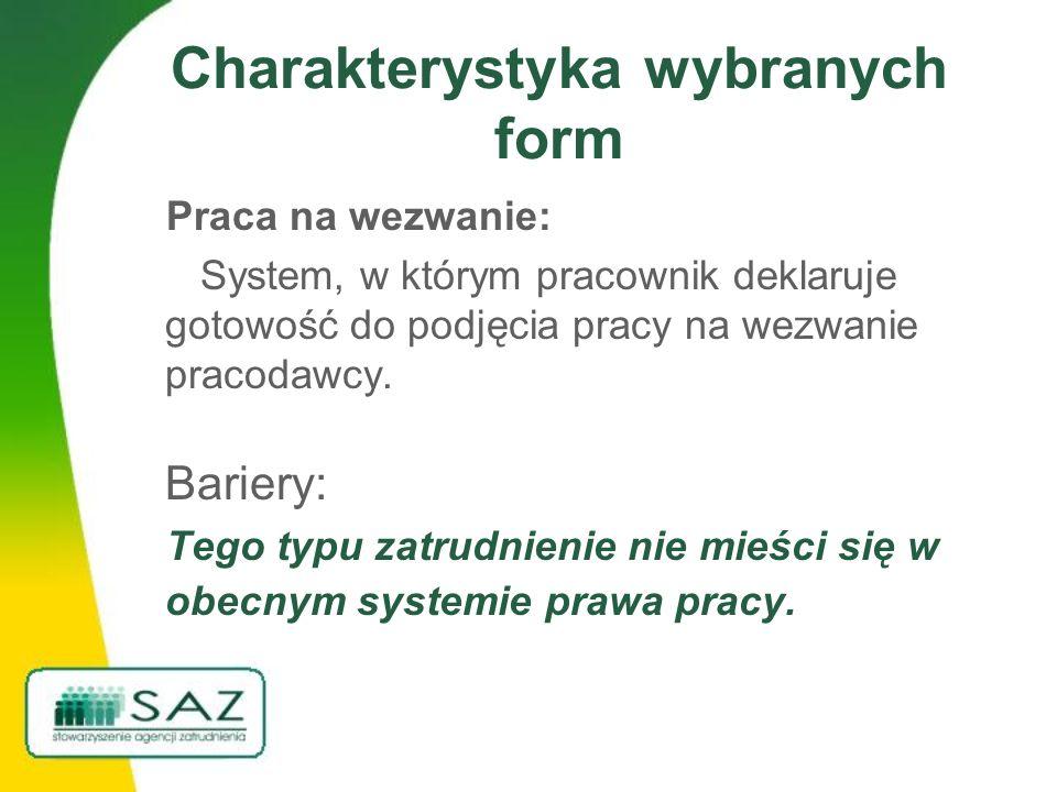 Charakterystyka wybranych form Praca na wezwanie: System, w którym pracownik deklaruje gotowość do podjęcia pracy na wezwanie pracodawcy. Bariery: Teg