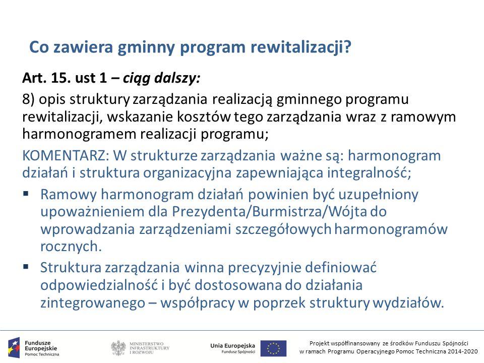 Projekt współfinansowany ze środków Funduszu Spójności w ramach Programu Operacyjnego Pomoc Techniczna 2014-2020 Co zawiera gminny program rewitalizacji.